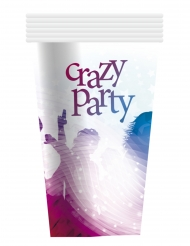 6 Krus Crazy Party hvid 25 cl.