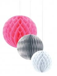 3 stk Honeycomb papirskugler i lyserød, grå og hvid