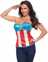 Captain America™ korset med pailletter til kvinder