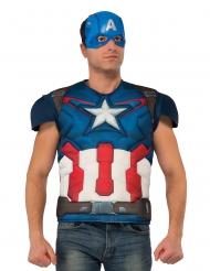 Muskuløs Captain America™ overdel og maske til voksne