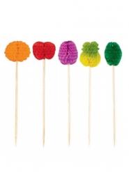 50 flerfarvede pinde med frugt 10 cm