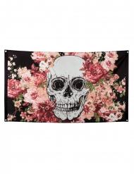 Banner med skelet og blomster 90x150cm