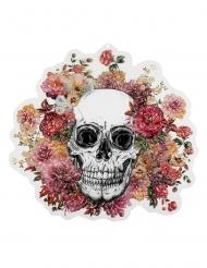 Vægdekoration - Dødningehoved med blomster 46x50cm