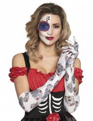Lange hvide Dia de los muertos handsker til kvinder