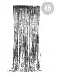 5 stk sølvgardiner 90c244 cm