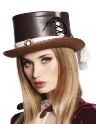 Luksus hat brun og snørre steampunk kvinde