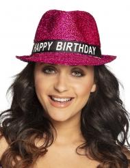 Happy birthday hat med lyserøde pailetter voksen