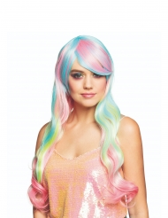 lang regnbue pastel paryk kvinde