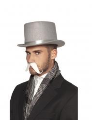 Hvidt selvklæbende overskæg voksen