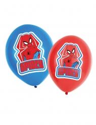 6 latex balloner Spiderman™ rød og blå 27,5 cm
