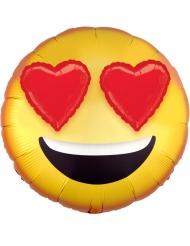 Aluminium ballon Smiley med hjerteøjne holografisk 43 cm