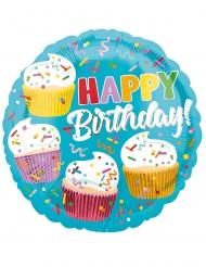 Aluminium ballon Happy Birthday cupcakes 43 cm