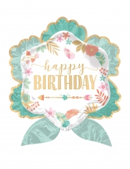 Aluminium ballon Happy Birthday blomst 63 x 68 cm
