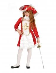 Rød musketér kostume pige