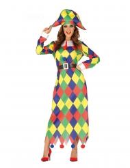 Harlekin kostume flerfarvet kvinde