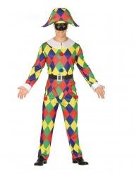 Harlekin kostume flerfarvet mand