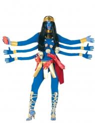 Hindu gudinde blå 6 arme kvinde