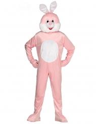 Kostume heldragt maskot lyserød kanin voksen