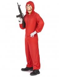Røver kostume og maske rød voksen
