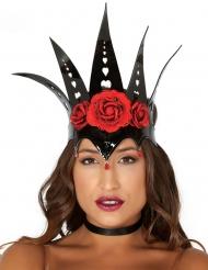 Dronningekrone sort med røde roser kvinde