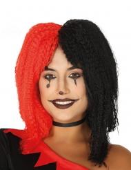 Harlekin paryk rød og sort kvinde