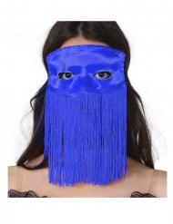 halvmaske blå med frynser voksen