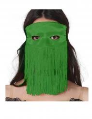 Grøn halvmaske med frynser voksen