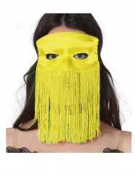Gul halvmaske med frynser voksen