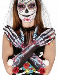 Skelet handsker med blomster Dia de los meurtos voksen
