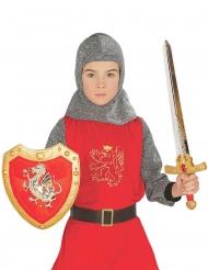 Skjold og sværd rød til børn