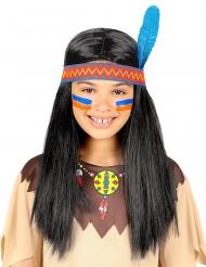 Indianer paryk med pandebånd og blomst - barn