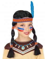 Indianer paryk med pandebånd og blomst blå -  barn