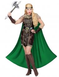 Vikinge kostume med pels og kappe - kvinde