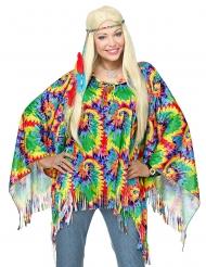 Psykedelisk hippie poncho og pandebånd - voksen