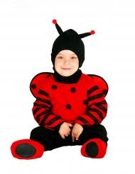 Mariehøne kostume med hætte til små børn