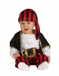 Sort og rødt piratkostumer til babyer