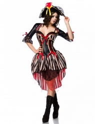 Sexet pirat korset kostume rød - kvinde