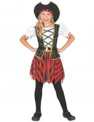 Pirat kostume rød og sort pige