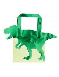 5 Gaveposer i papir grøn mettalisk dinosaur 22,5 cm