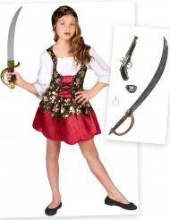 Sæt med piratkostume og tilbehør - pige