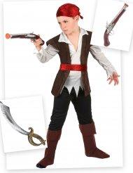 Sæt med piratkostume sabel og pistol - dreng