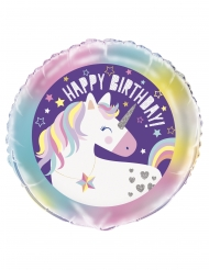 Aluminium ballon happy birthday enhjørning 45 cm