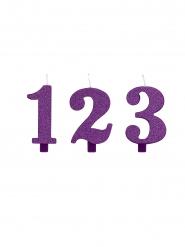 Fødselsdag tal lys lilla glimmer 9,5 cm