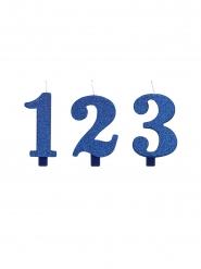 Fødselsdag tal lys blå glimmer 9,5 cm