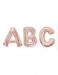 Bogstavsballon aluminium 81cm - rosa-guld