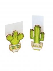 2 kaktus bordmarkører i træ 6 x 3 x 1,5 cm