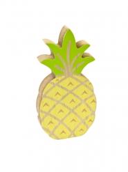 Ananas dekoration i træ gul og grøn 12 cm