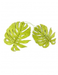 2 Tropisk blade i træ 11 cm - grøn