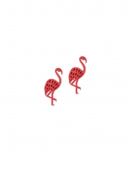 10 lyserød flamingo konfetti i træ 4 cm