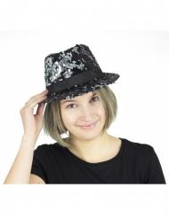Hat med tofarvede pailletter sort og sølv